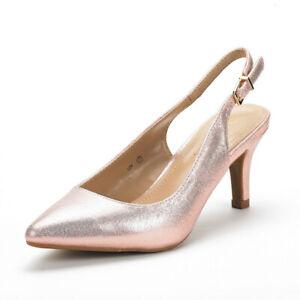 DREAM PAIRS Women's Slip On Low Stilettos Heels Slingback Ladies Dress Shoes