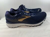 Brooks Ghost 12 1103162E489 Running Shoes, Men's Size 10-2E, Navy/Gold