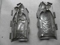 antique mould Santa Claus chocolate St Nicholas candy mold tin french vintage c