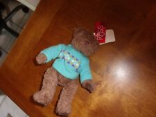 "Plush Russ 9"" Lovey bear brown tan blue sweater 97736"