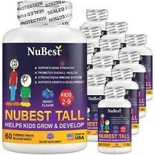 Pack of 12 NuBest Tall Kids for Age 4-9 Help Kids Grow & Develop 60 Chew Tablets