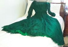 Vintage Old 1950's Women's Silk with Lining Long Dress Size 8 Emerald Green