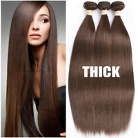 THICK Brazilian Virgin Human Hair Extensions 3Bundles/300g Weave Straight Brown