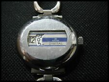 Ancienne MONTRE à GUICHET ELECTRA DIGITAL FEMME PLAQUE OR BLANC JUMP HOUR RARE !