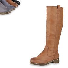 Damen Reiterstiefel Leicht Gefütterte Stiefel Leder-Optik Schuhe 819556 Top