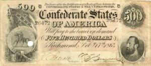 Confederate States $500 Dollars CR-489 Currency Banknote 1864