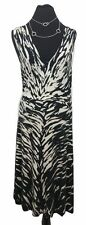 HOBBS Dress Size 12 Black & White Designer Wedding V Neck Stretch Summer