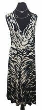 HOBBS Dress Size 12 Black & White Designer Wedding V Neck Stretch Summer