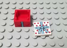 LEGO New Red 2x2x1 Minifigure Gift Container Box Accessory Metallic Bow Ribbon