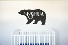 Bear Name - Vinyl Decal Wall Art Decor for Forest Animal Nursery Children Baby