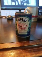 Vintage Heinz 57 Strained Baby Food Paper label Tin Can~ Strained Pear & Farina