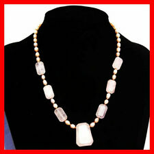New 20'' 50cm Pink Crystal Gemstone Pink Freshwater Pearls Pendant Necklace