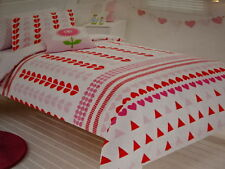 PINK/WHITE Martha SINGLE QUILT COVER, FITTED SHEET, CUSHION BEDDING PACK BNIP