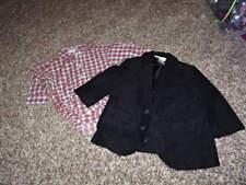 JANIE AND JACK 3-6 PLAID SHIRT BLACK DRESS JACKET TARTAN TRAIN NOSTALGIC PUP