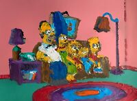Original Abstract The Simpsons on Couch Wall Art Acrylic Painting Cartoon 12x16