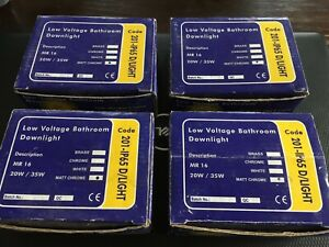 x 4 Low Voltage Bathroom Downlights 12v 20w / 35w. New unused. With full details