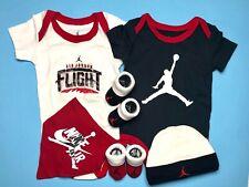 AIR JORDAN/NIKE BABY BOYS 6pc Gift set: Bodysuits, Bib, Booties & Cap 0-6 Months