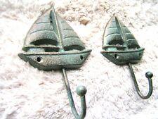 TWO Cast Iron Sailboat Hooks, Hat, Key Rack, Indoor Outdoor Garden or Bath