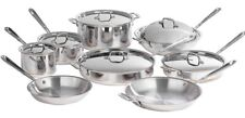 ALL-CLAD 14 PC Piece 5 Ply Copper Core Polished Stainless Steel COOKWARE SET~NEW