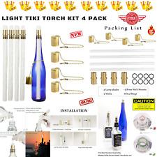 Wine Bottle Tiki Torch Kit Oil Lamps Tabletop Lantern Garden Nights Outdoors 4-P