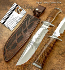 IMPACT CUTLERY RARE CUSTOM D2 TOOL STEEL BOWIE KNIFE STACKED LEATHER HANDLE
