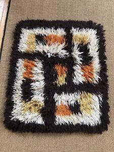 "Vintage Retro Rya Shag Pile Rug 1960s 70s Scandinavian Lovely Thick Pile 26""x32"""