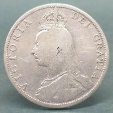 UK GREAT BRITAIN / ENGLAND 1889 QUEEN VICTORIA DOUBLE FLORIN SILVER COIN