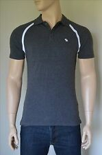 NEW Abercrombie & Fitch Vintage Sport Polo Shirt Charcoal Grey Moose L