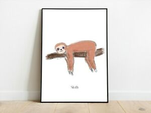 Original Artwork Chilled Sloth Wall Print A3/A4/A5 Posters Gift Idea