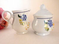 Creamer Sugar Bowl Coffee Tea Serving Set White Ceramic Blue Floral Dishes