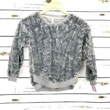 Girls Top Gray M (7/8) Long Sleeve Faux Fur Fuzzy Xhilaration