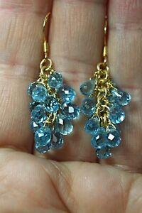 Earrings Blue Topaz Genuine Gem Briolette Cut Sterling Silver Yellow Gold Plated