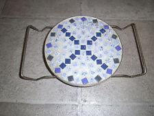 Ceramic Tile Trivet on Metal Stand Holder Blue White Mosaic Small Tiles