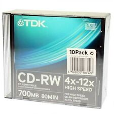 TDK CD-RW 700MB 80 MINUTES 4X-12X PACK 10 UNITS-