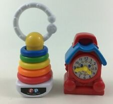 Fisher Price McDonalds Baby Toys Rings Rattle and Red Blue Clock 2pc Lot
