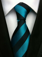 113KT classic mens 100% silk neck tie blues / greens stripes wedding party ties