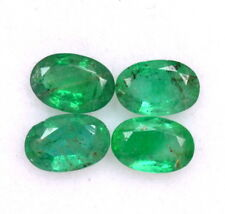 Natural Emerald Oval Cut 6x4 mm Lot 04 Pcs Certified Untreated Loose Gemstones