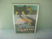 1934 THE BLACK CAT Karloff & Bela Lugosi 1970's Poster GLASS FRAMED 29x21