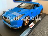 Maisto 1:18 Scale - Nissan GTR - Blue - Diecast Model Car