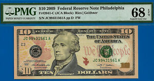 TOP POP - Non Finer - 2009 $10 FRN (( Philadelphia )) PMG Superb 68EPQ # 31561A