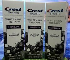 Crest 3D White Toothpaste, Whitening Therapy Deep Clean Charcoal 4.1oz X3 02/21