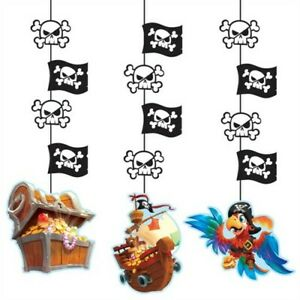 "Pirate Treasure Hanging Cutout Decorations 3 Pack 22.5"" Paper Decorations"