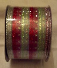 "Fabric Ribbon Organza Green, Red, Silver Sparkle Stripe -Wired 2.5"" x 1"