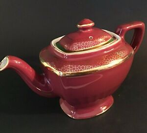 """HALL TEAPOT MAROON GOLD ACCENTS VINTAGE 10 1/2""""W 6 CUP #0113 GOLD STAMP"""