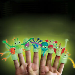 Set Of 8 Monster Finger Puppets School Daycare Imaginary Play Glow In the Dark
