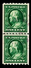 US.#390 USED  WASH/FRNKN. COIL LINE PAIR  OF 1910 - VF - $125.00 (ESP#7019)