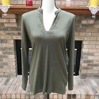 Chaps Denim Women's Blouse Shirt Green Size M Beaded 100% Cotton Long Sleeve EUC