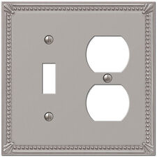 IMPERIAL BEAD BRUSHED NICKEL 1 TOGGLE & 1 DUPLEX COMBO SWITCHPLATE WALLPLATE