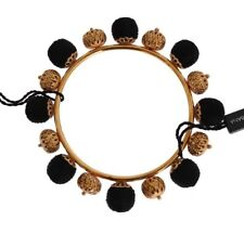 NEW $720 DOLCE & GABBANA Bracelet Gold Brass Black Floral Roses Bangle One Size