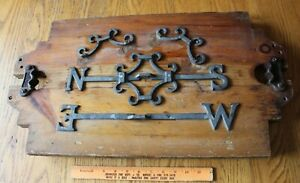 Weathervane Mold Antique North South East West Relief Hines 1926 Cast Iron Wood